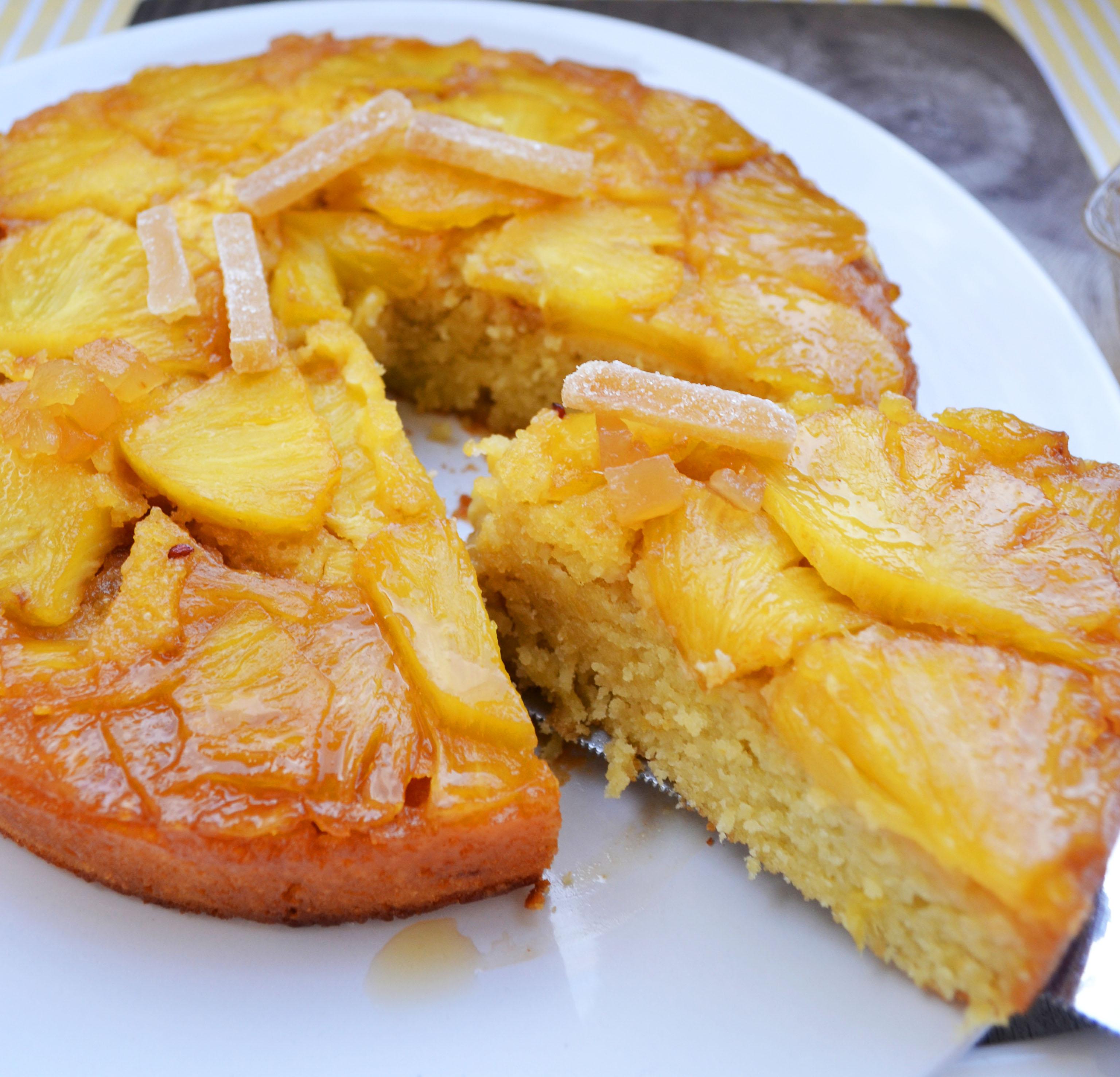 Upside Down Gesturzter Ananaskuchen Mit Kandiertem Ingwer